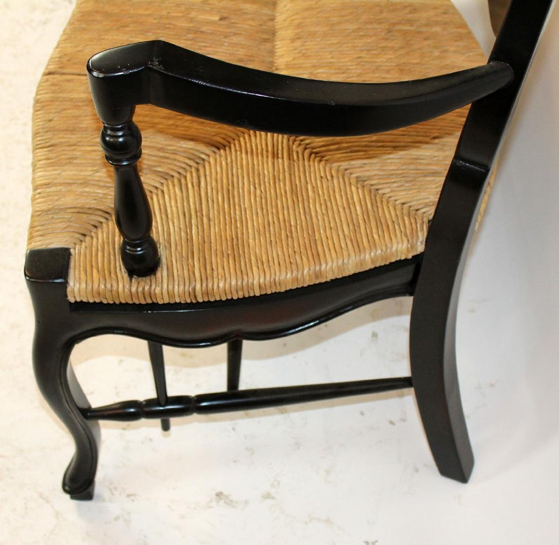 French Provincial style ladder back rush seat bench - 3