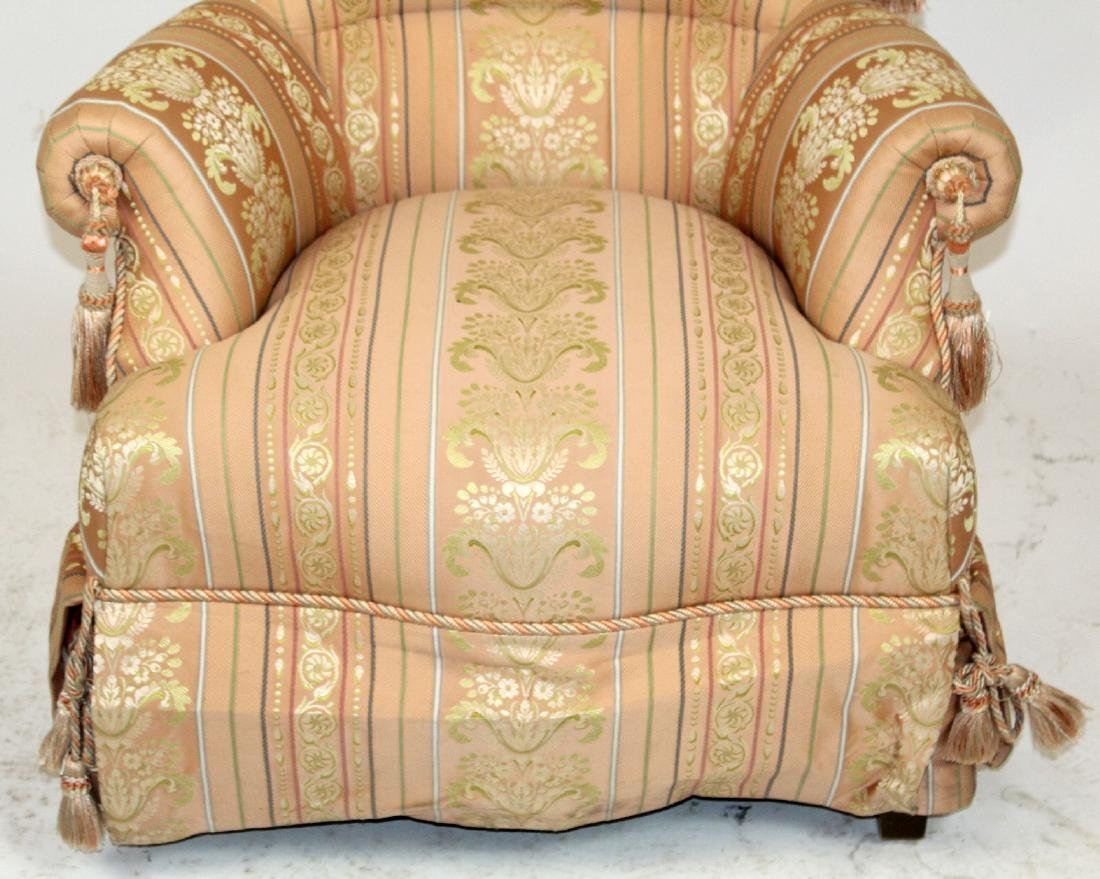 Baker pink upholstered rolled arm chair. - 4