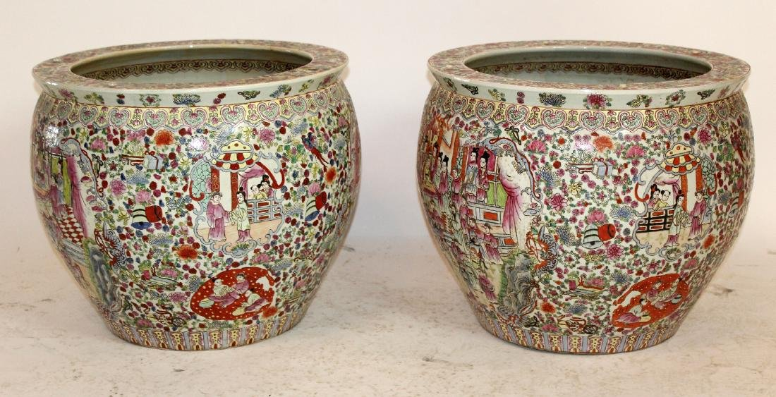 Pair of porcelain Chinese fish bowl planters