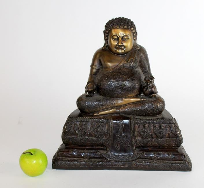 Bronze seated Buddha statue