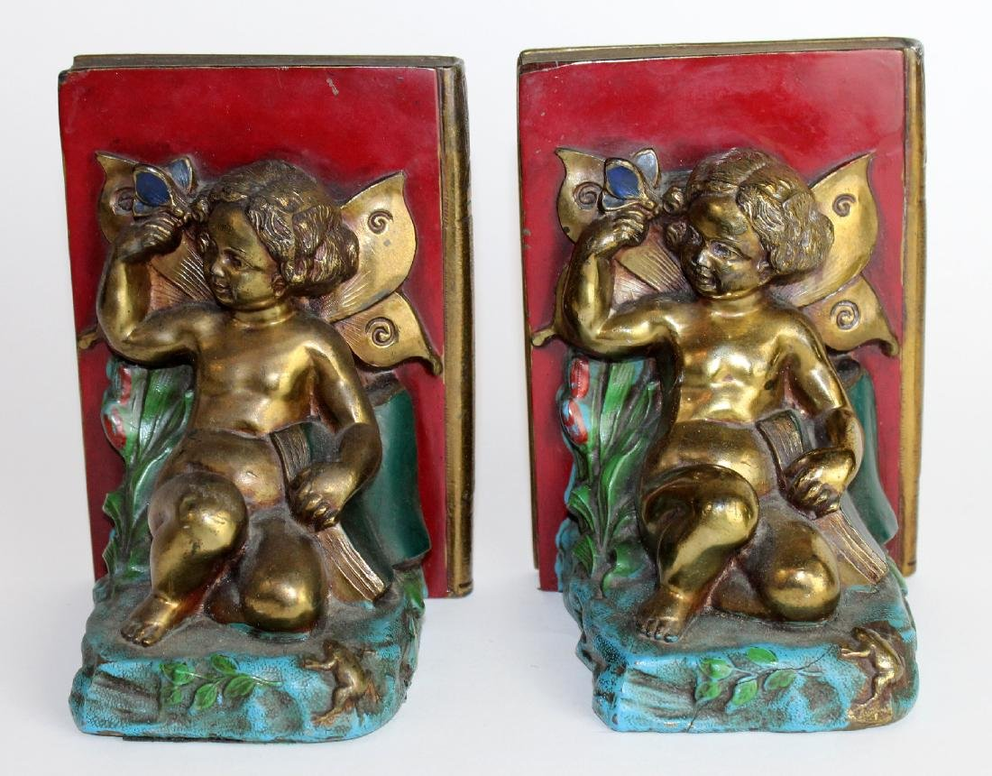 Pair Art Deco bookends with cherubs