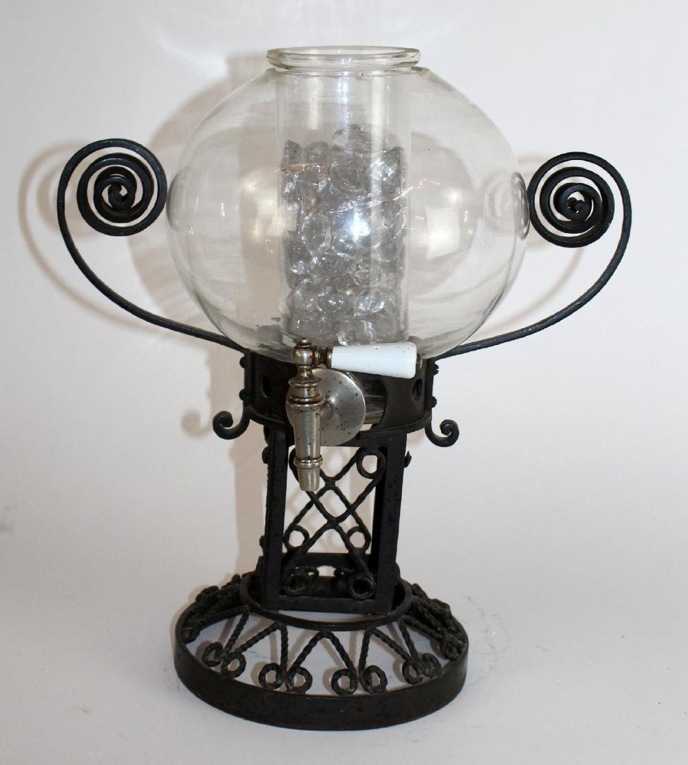 French Art Deco iron & glass liquor dispenser