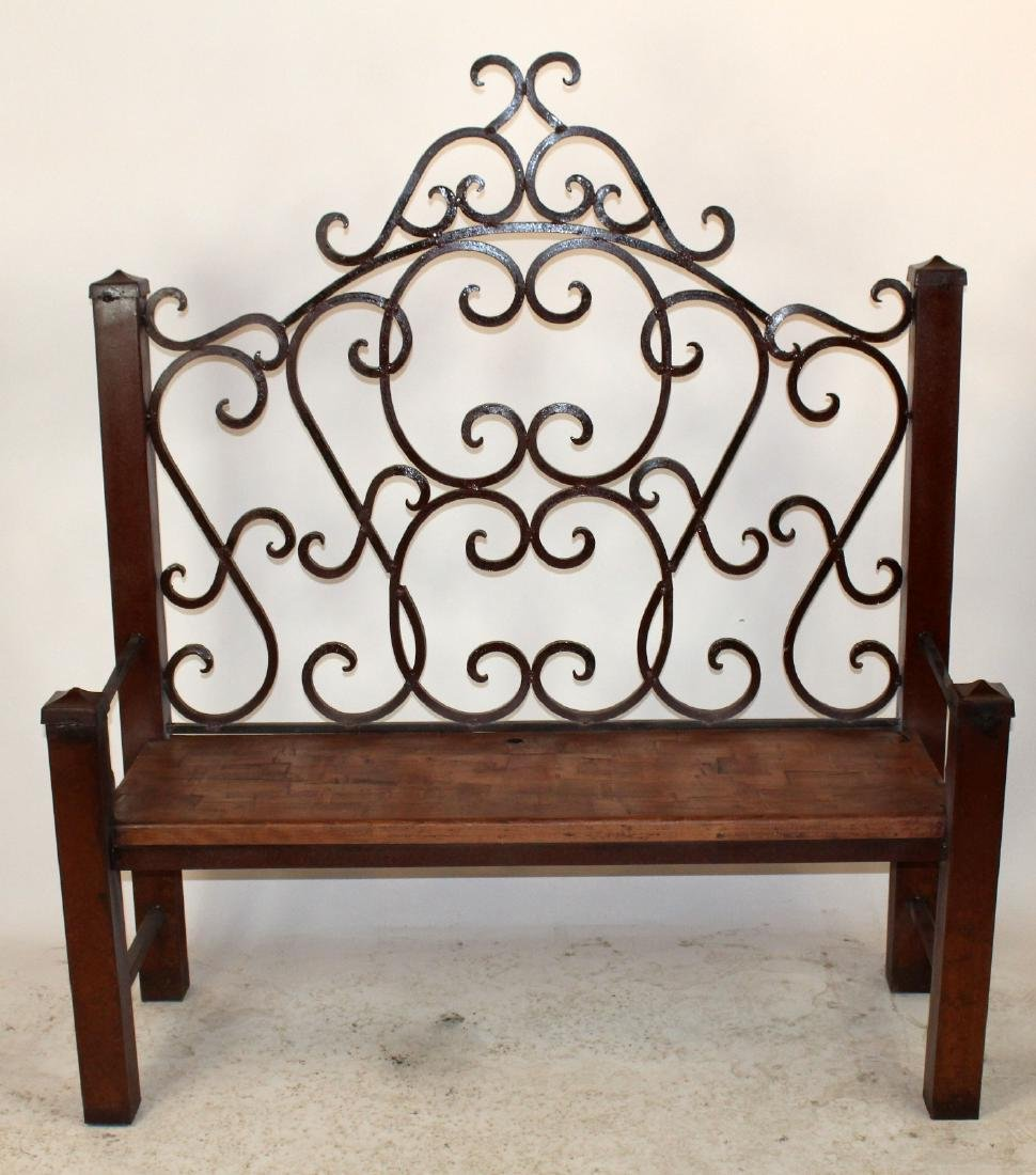 Scrolled iron garden bench