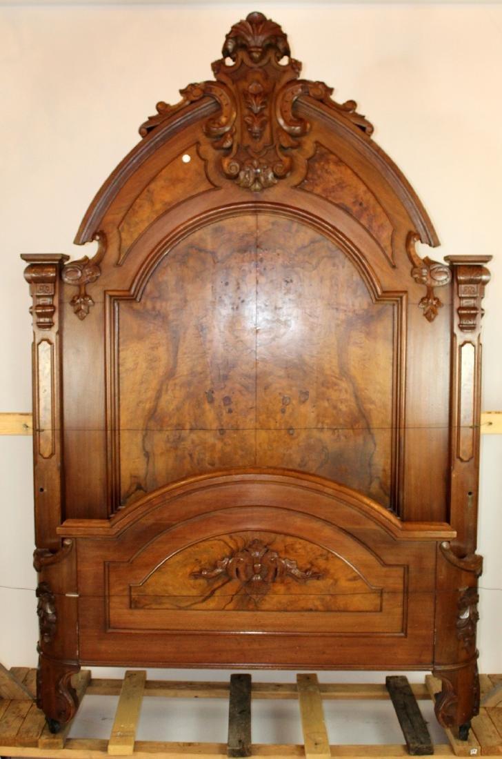 American Victorian high back walnut bed
