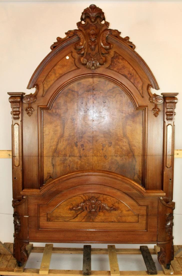 American Victorian high back walnut bed