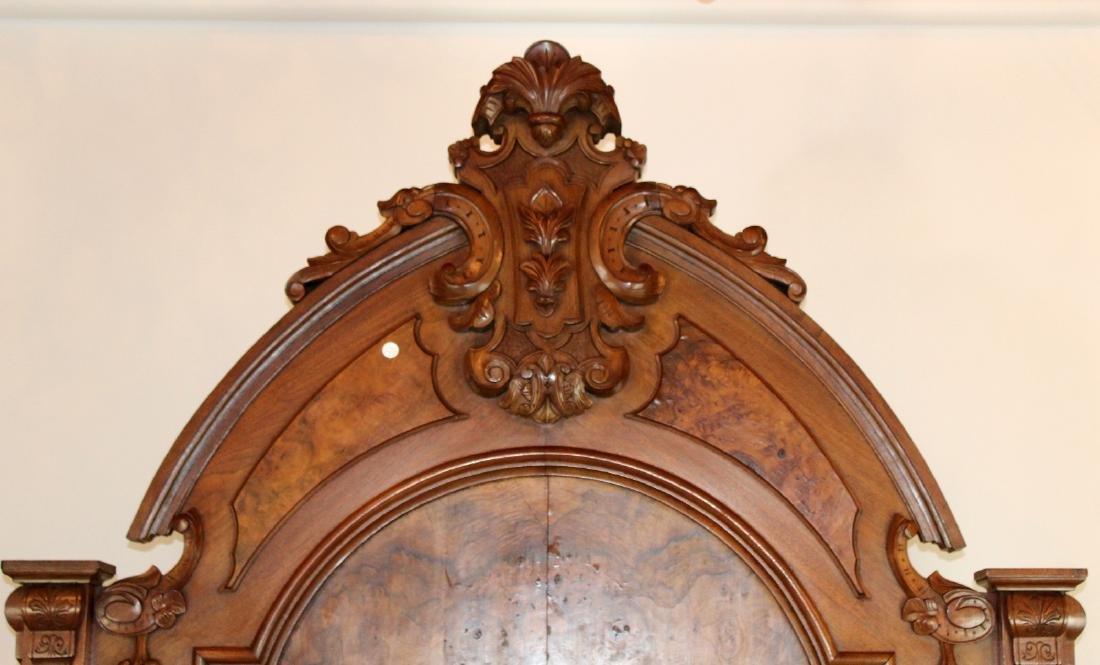 American Victorian high back walnut bed - 2
