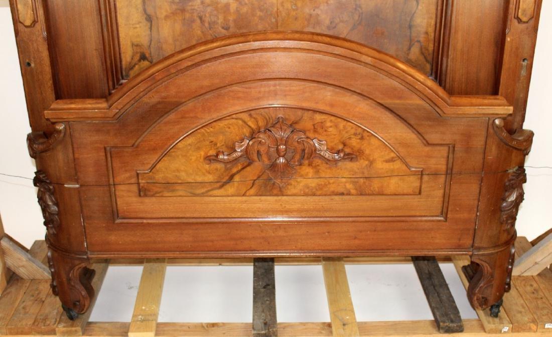 American Victorian high back walnut bed - 4