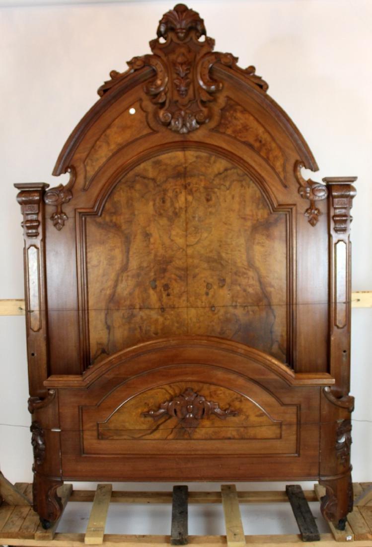 American Victorian high back walnut bed - 5