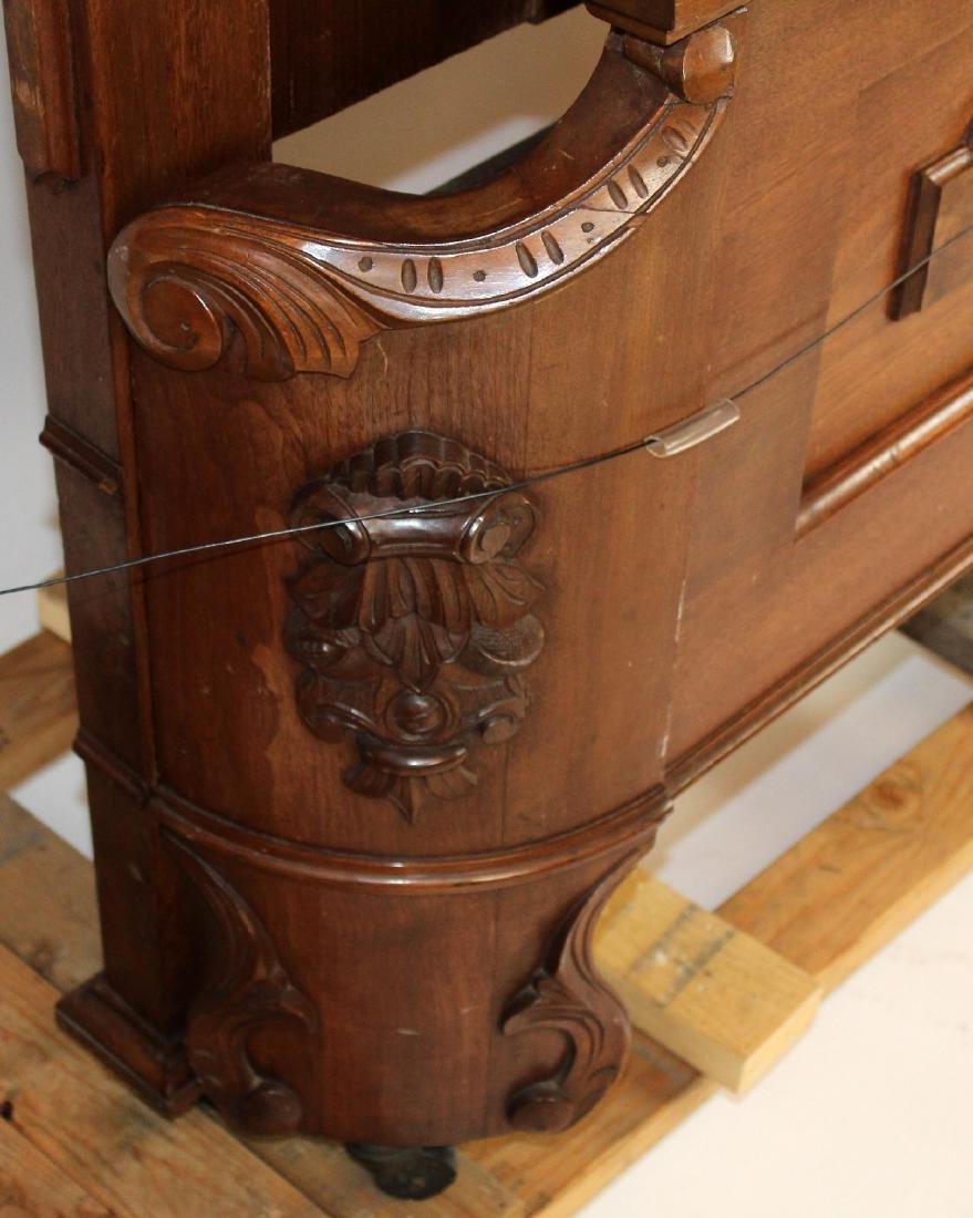 American Victorian high back walnut bed - 6