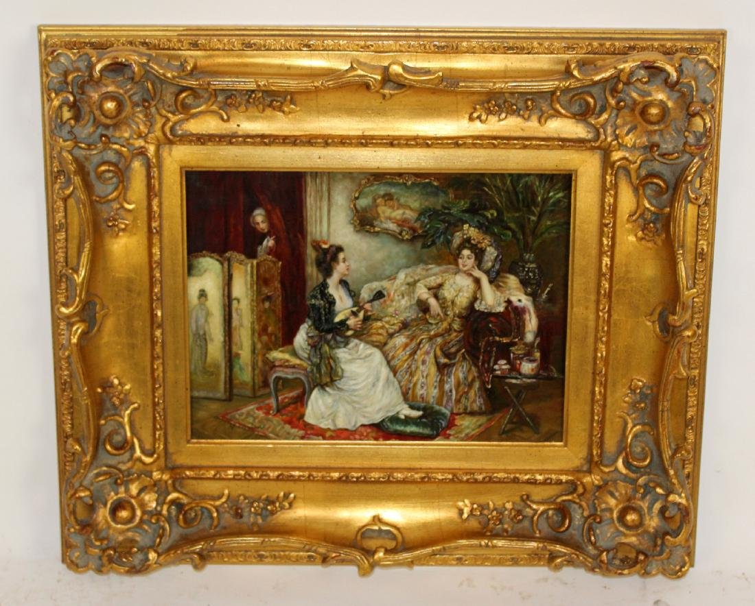 Oil on canvas depicting parlor scene