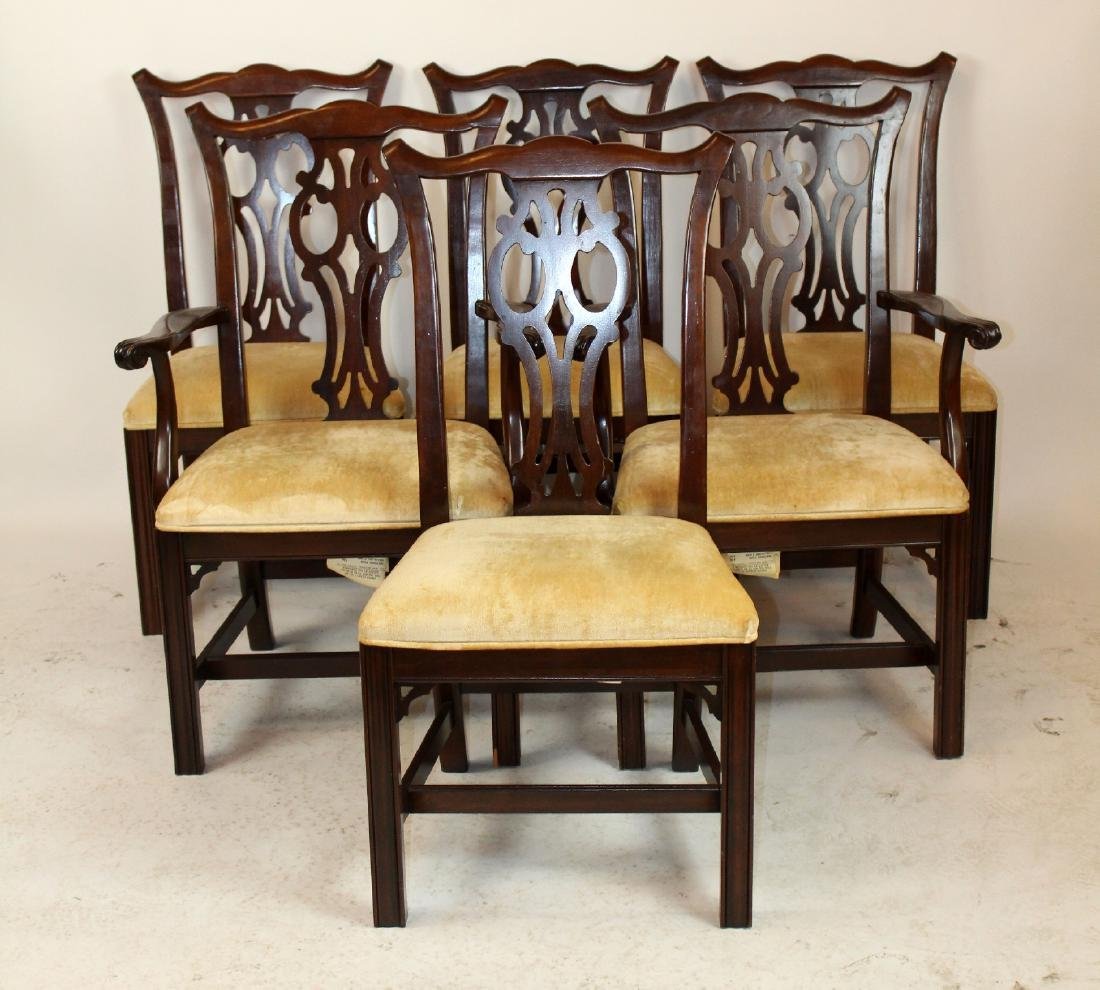 Set of 6 Ethan Allen chippendale dining chairs - 2