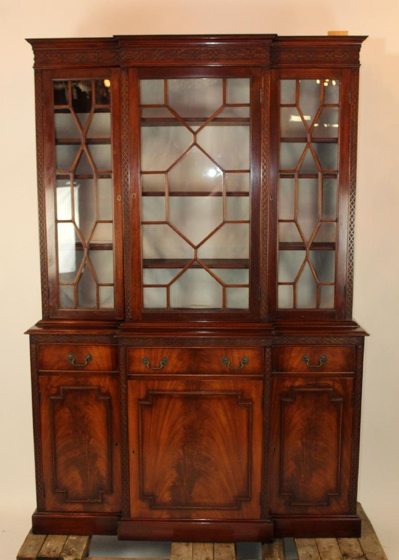 English Chippendale breakfront in mahogany