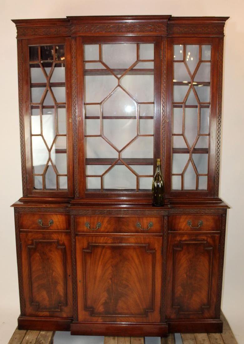 English Chippendale breakfront in mahogany - 5