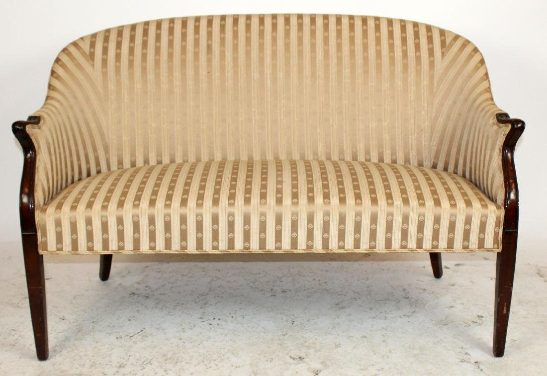 English Hepplewhite settee with mahogany frame
