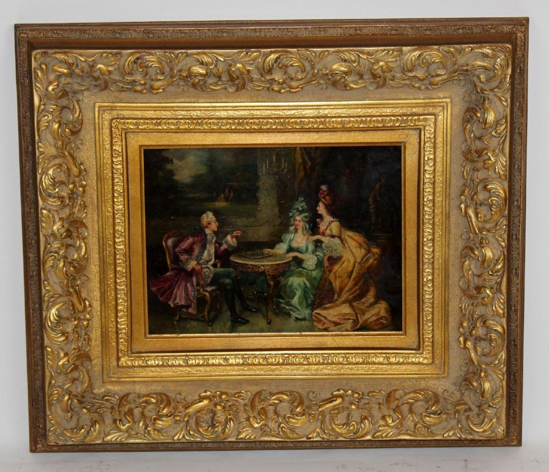 Oil on board depicting parlor scene