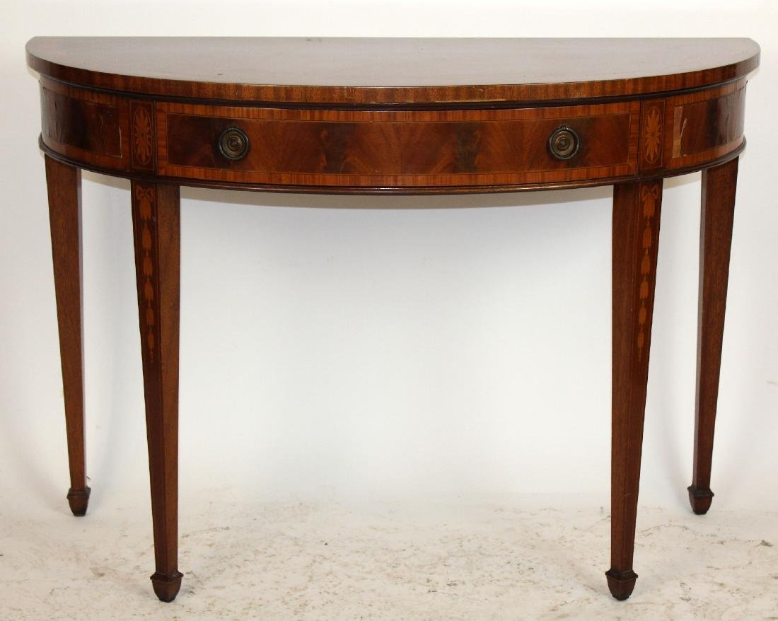 English marquetry demi lune console table