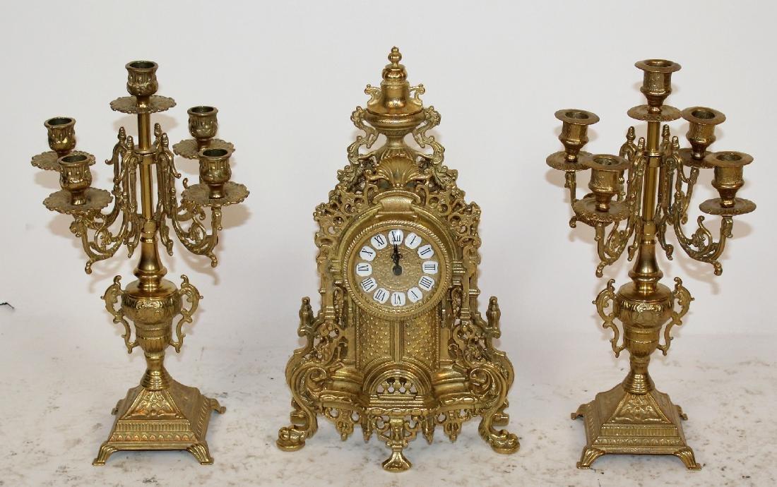 Rococo 3 pc gilt bronze clock set