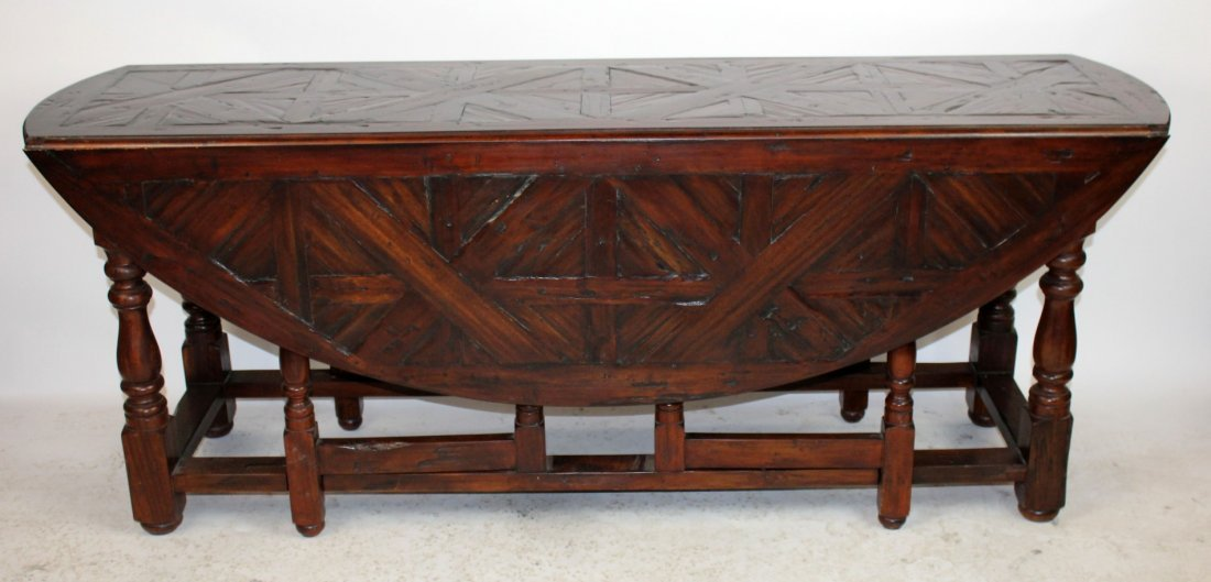 Parquetry top oval drop side wake table
