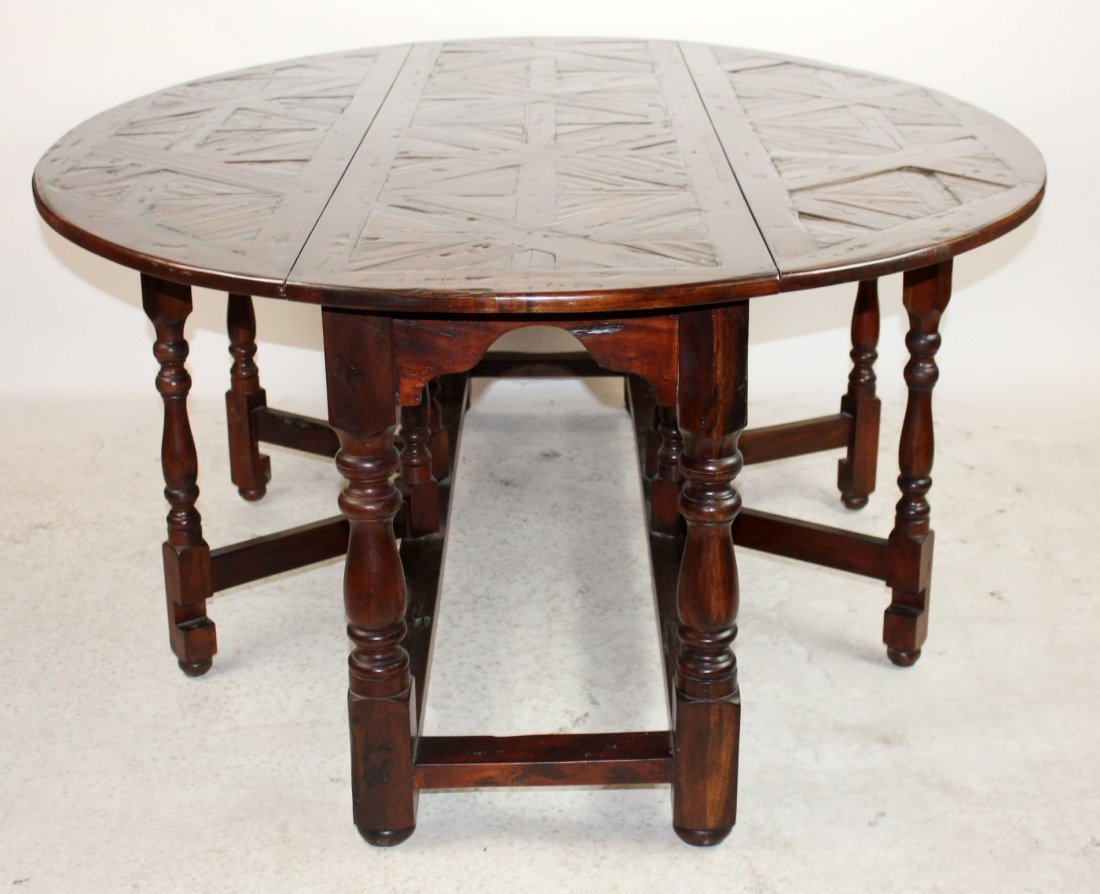 Parquetry top oval drop side wake table - 7