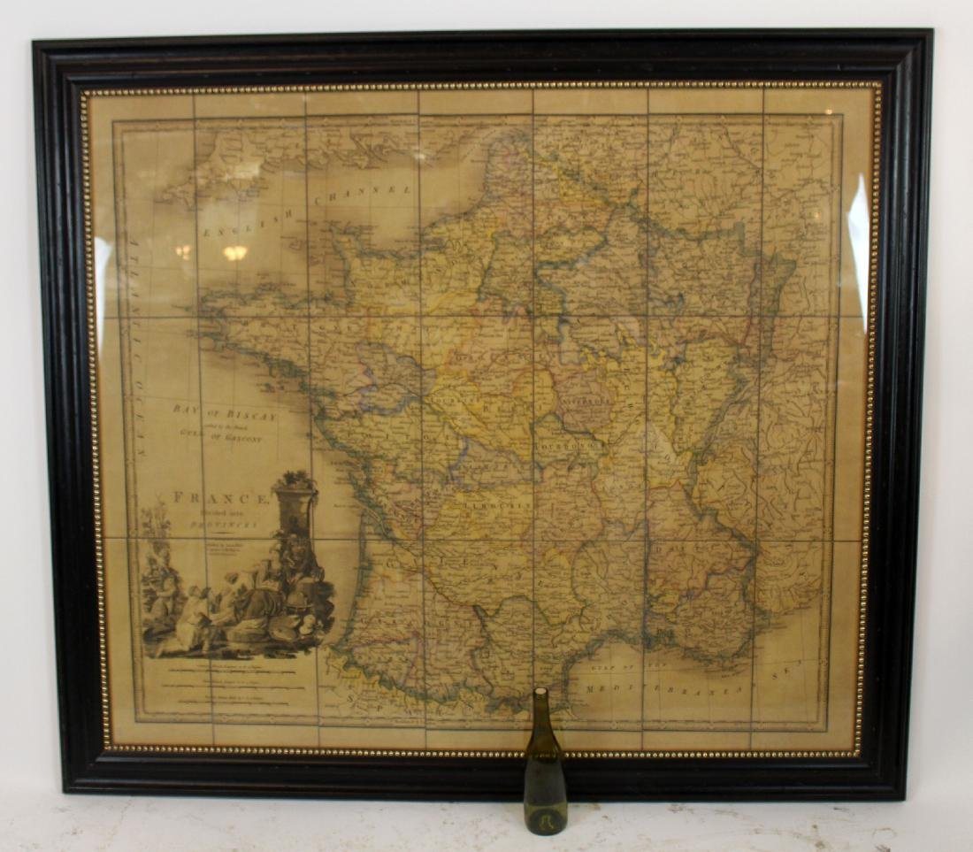 Large scale framed map of France