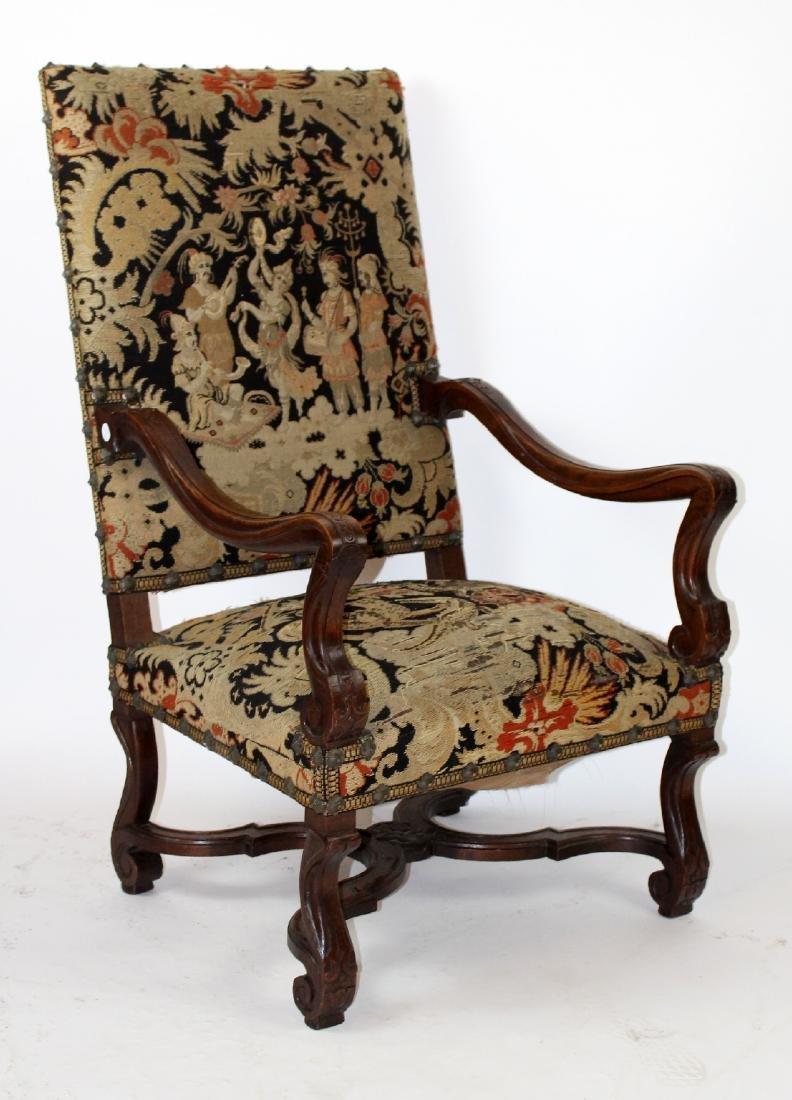 French Louis XIV walnut fauteuil