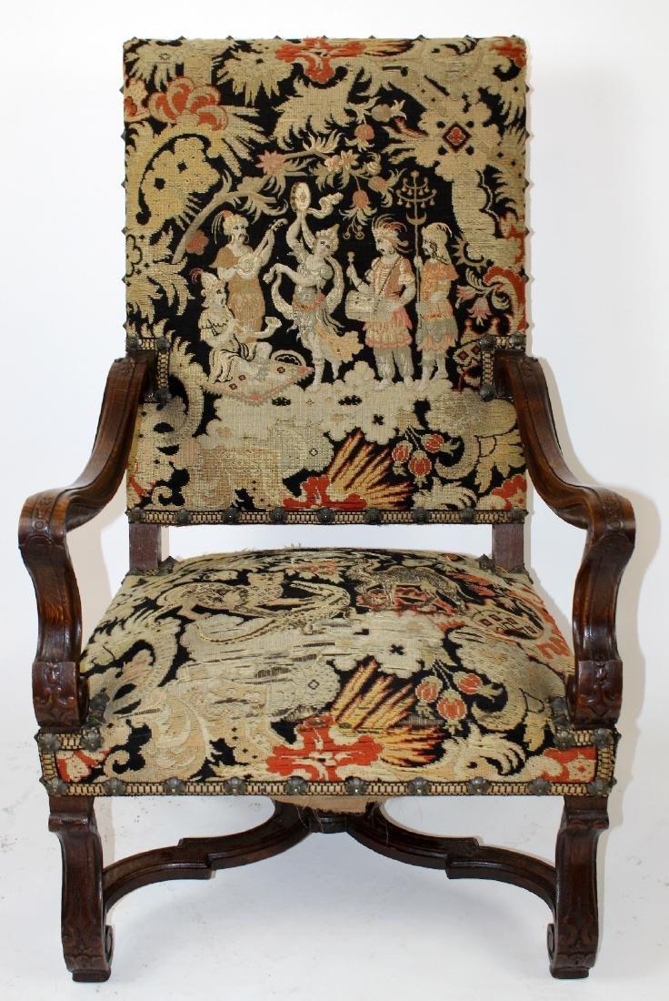 French Louis XIV walnut fauteuil - 2