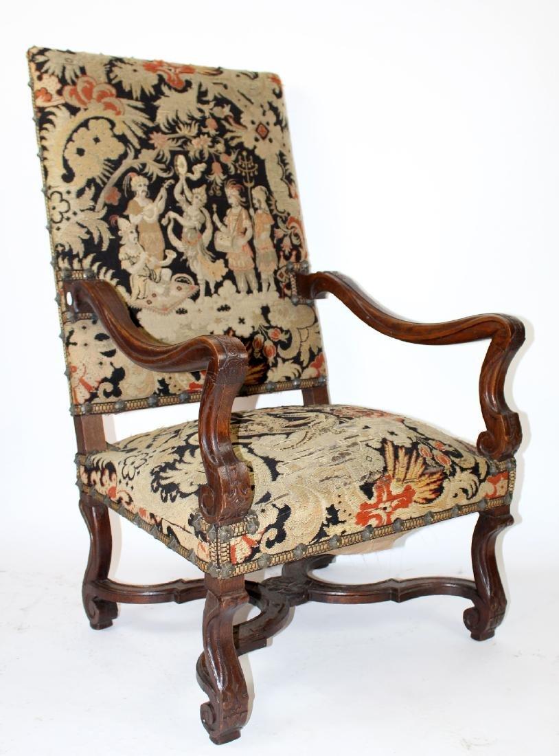 French Louis XIV walnut fauteuil - 3