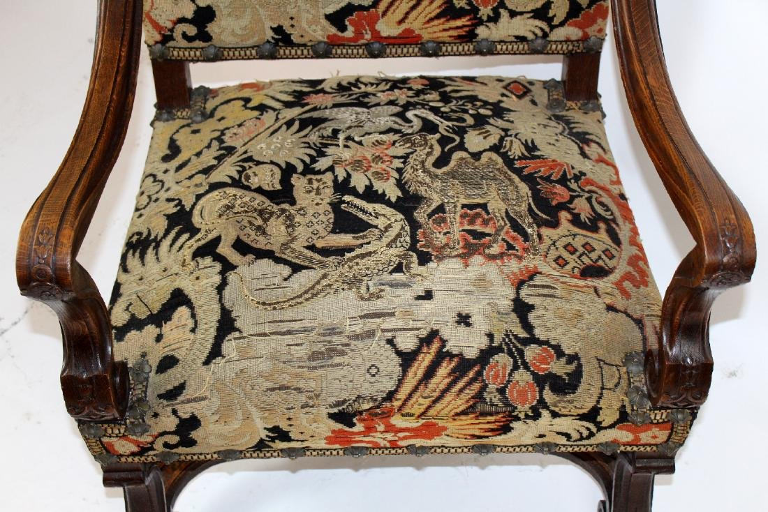 French Louis XIV walnut fauteuil - 5
