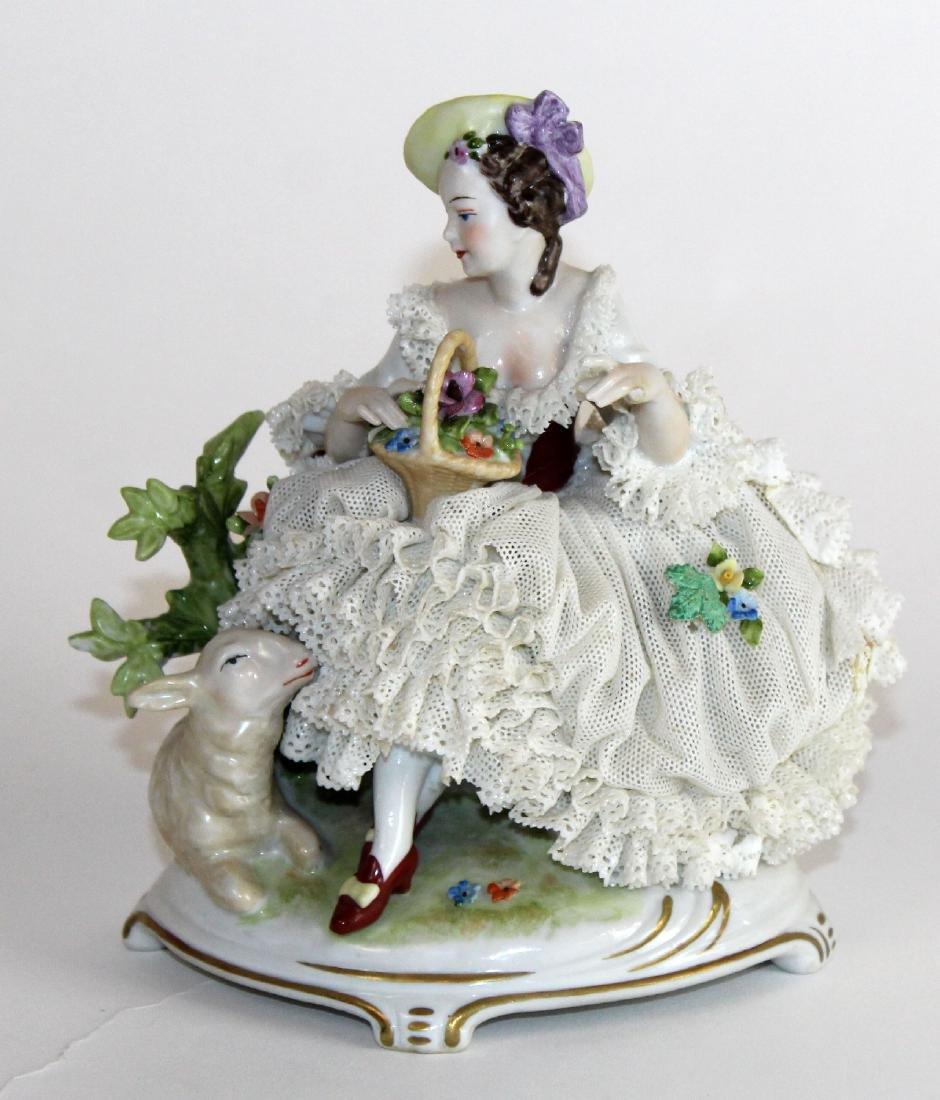German Dresden porcelain woman in lace dress