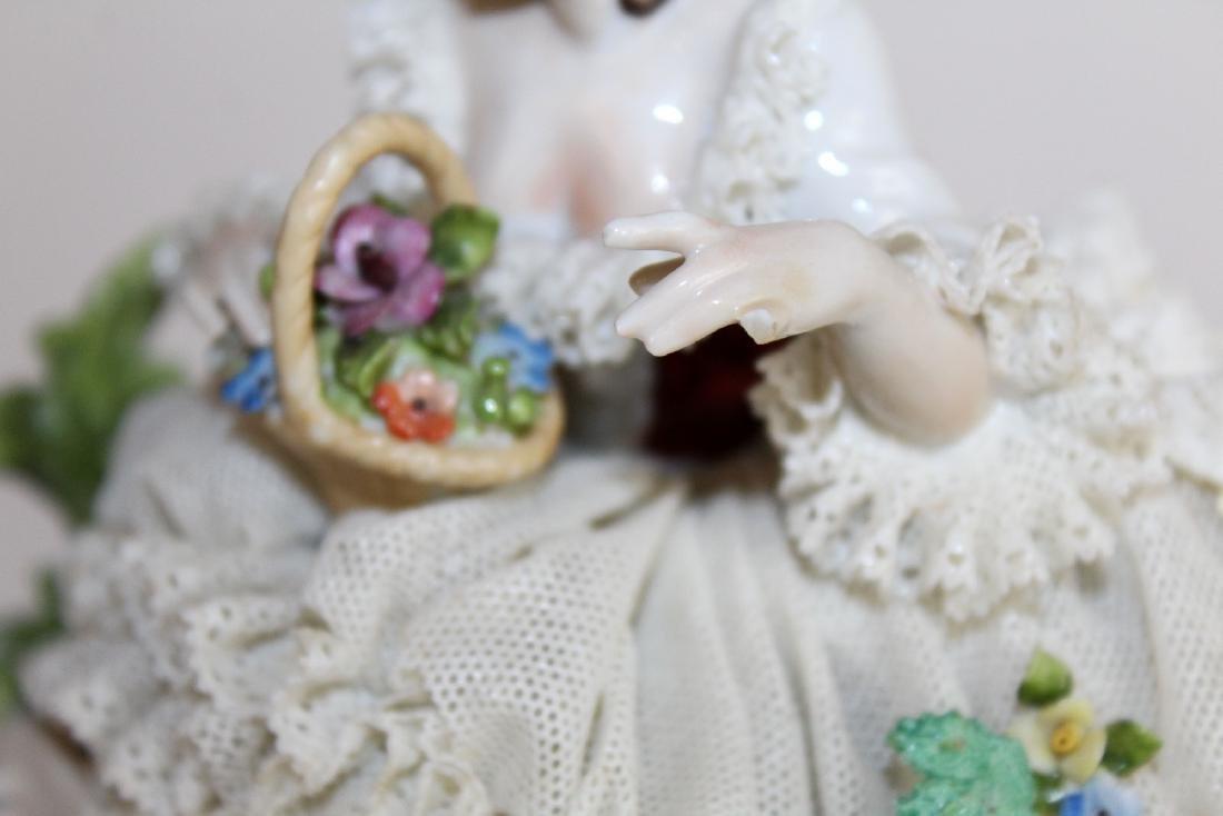 German Dresden porcelain woman in lace dress - 2