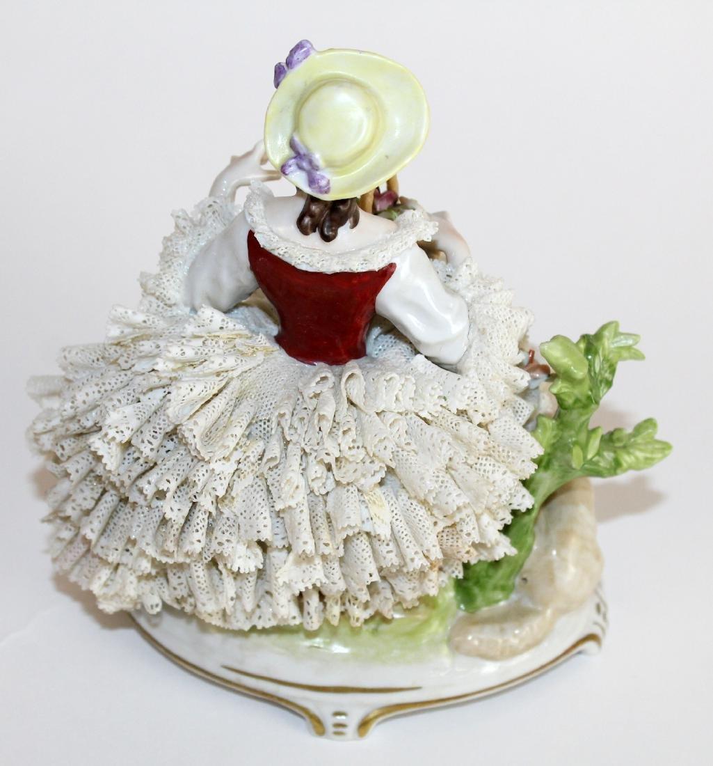 German Dresden porcelain woman in lace dress - 4