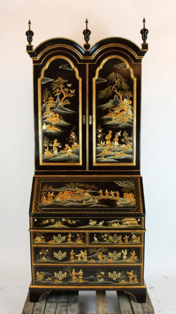 Baker chinoiserie double dome top secretary