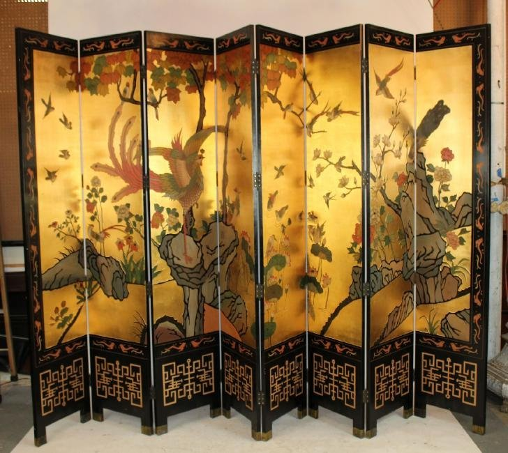 Chinoserie 8-panel folding screen