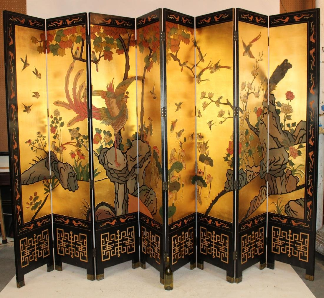 Chinoserie 8-panel folding screen - 3