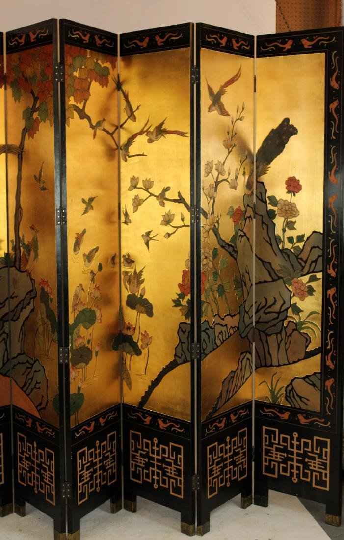Chinoserie 8-panel folding screen - 4