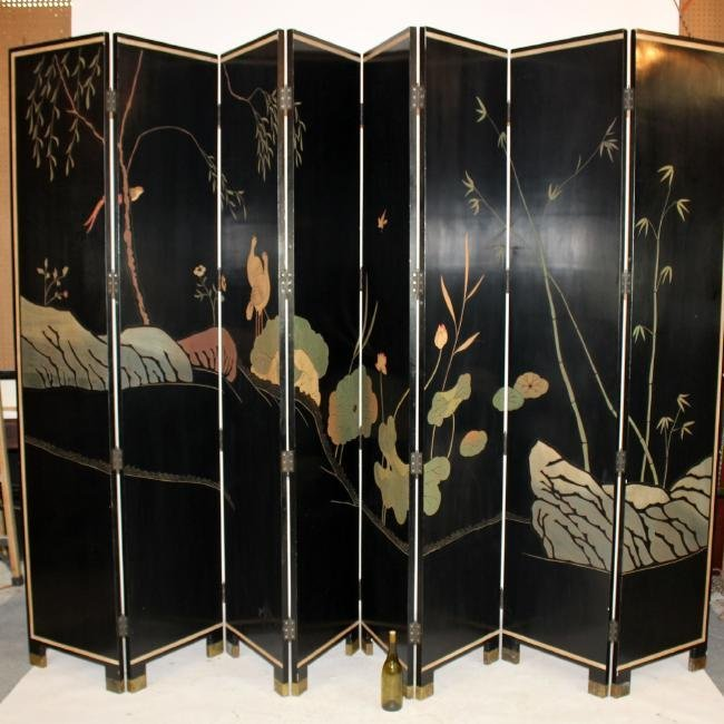 Chinoserie 8-panel folding screen - 5