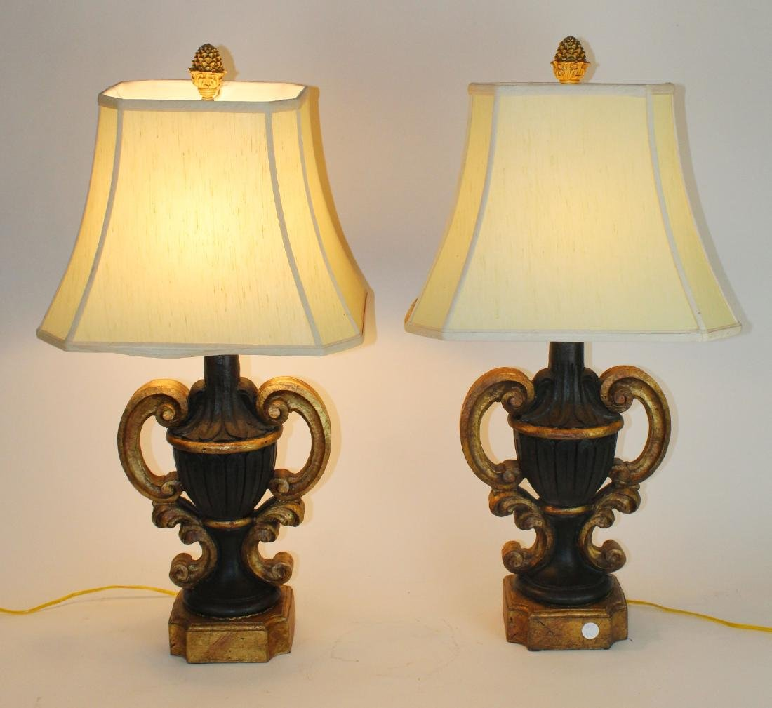 Pair black and gold urn form lamps