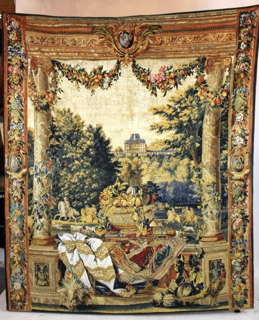 Tapestry depicting veranda with landscape