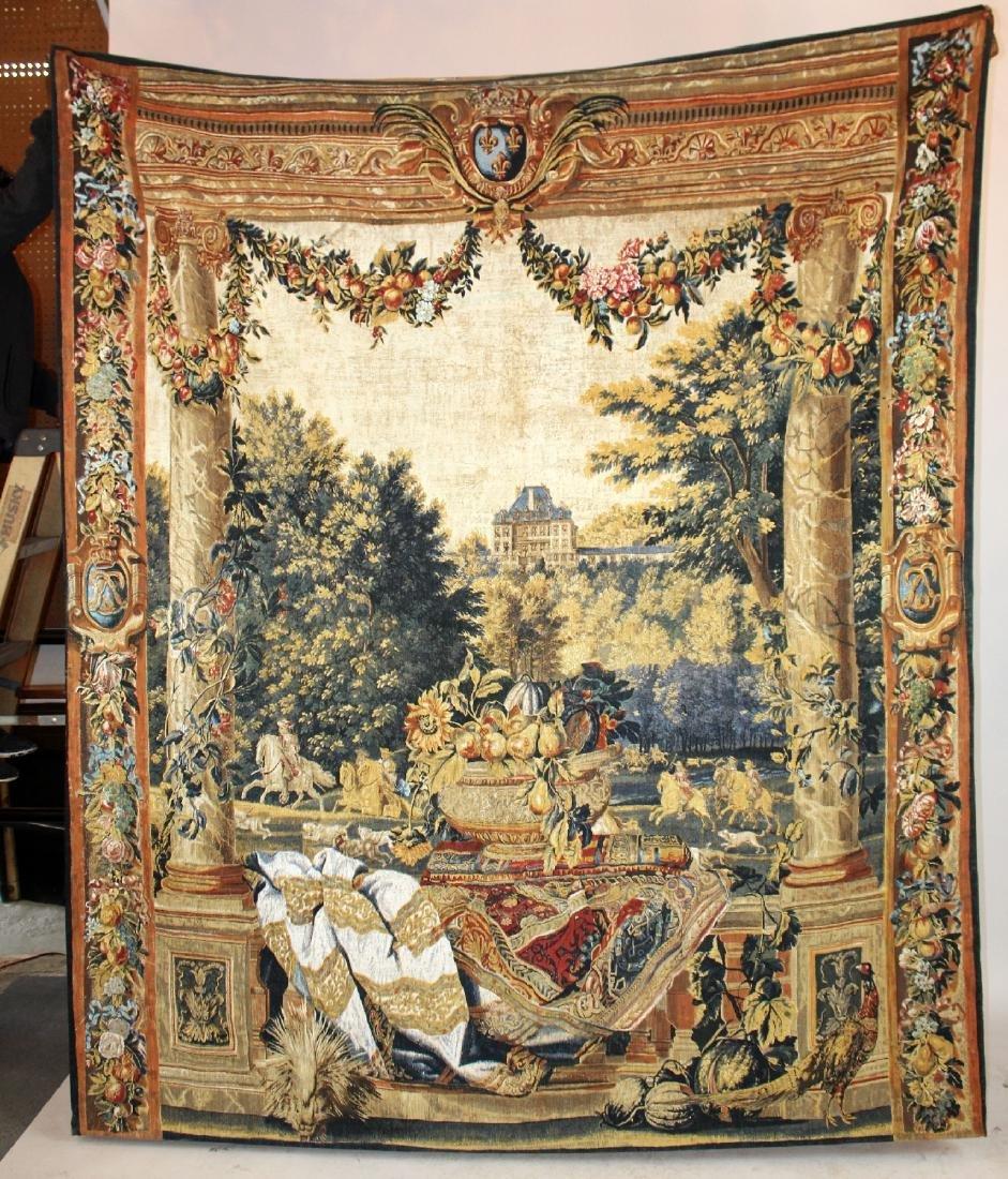 Tapestry depicting veranda with landscape - 2