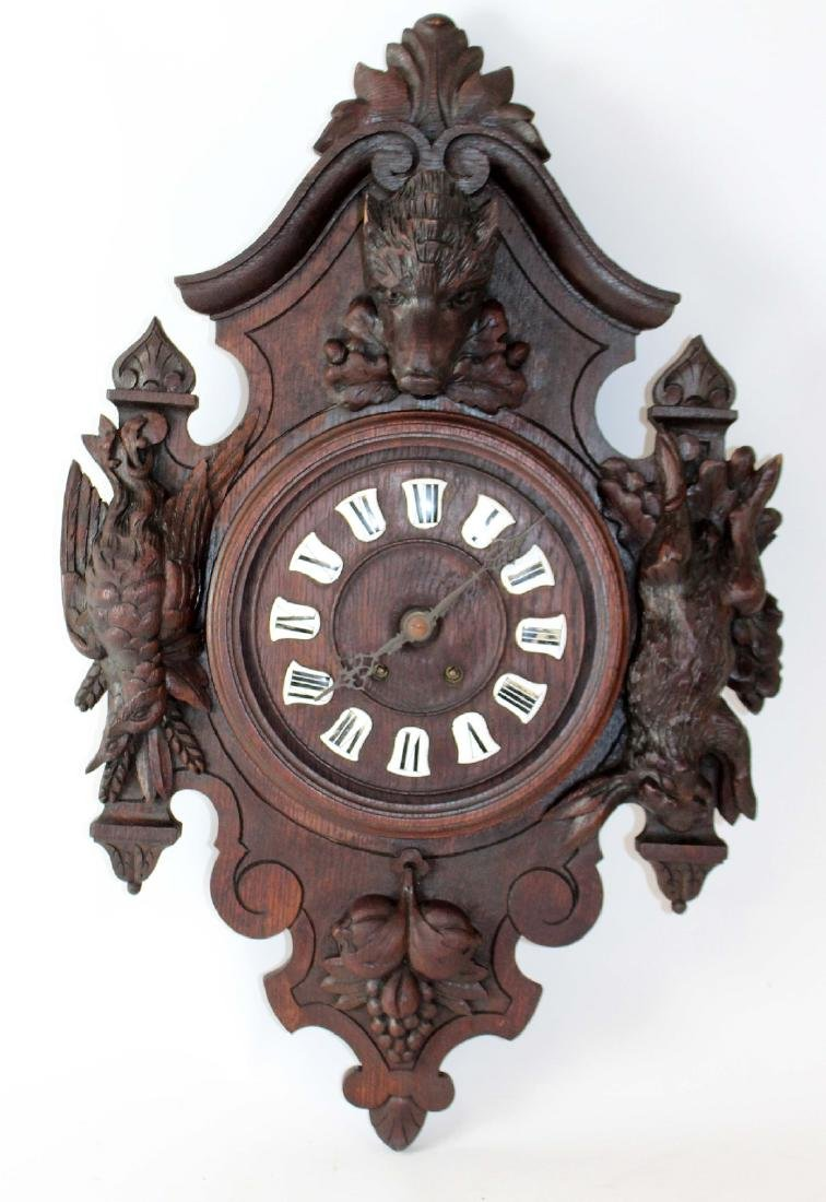 French heavily carved wall clock