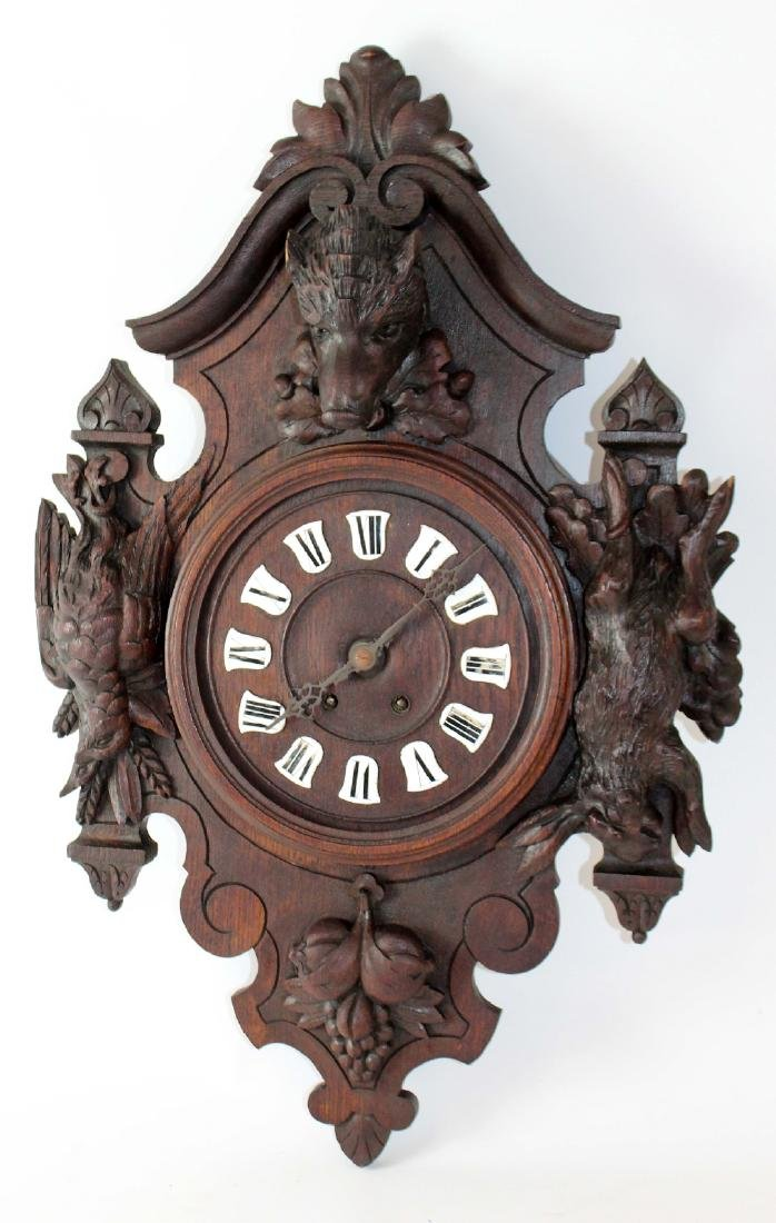 French heavily carved wall clock - 3