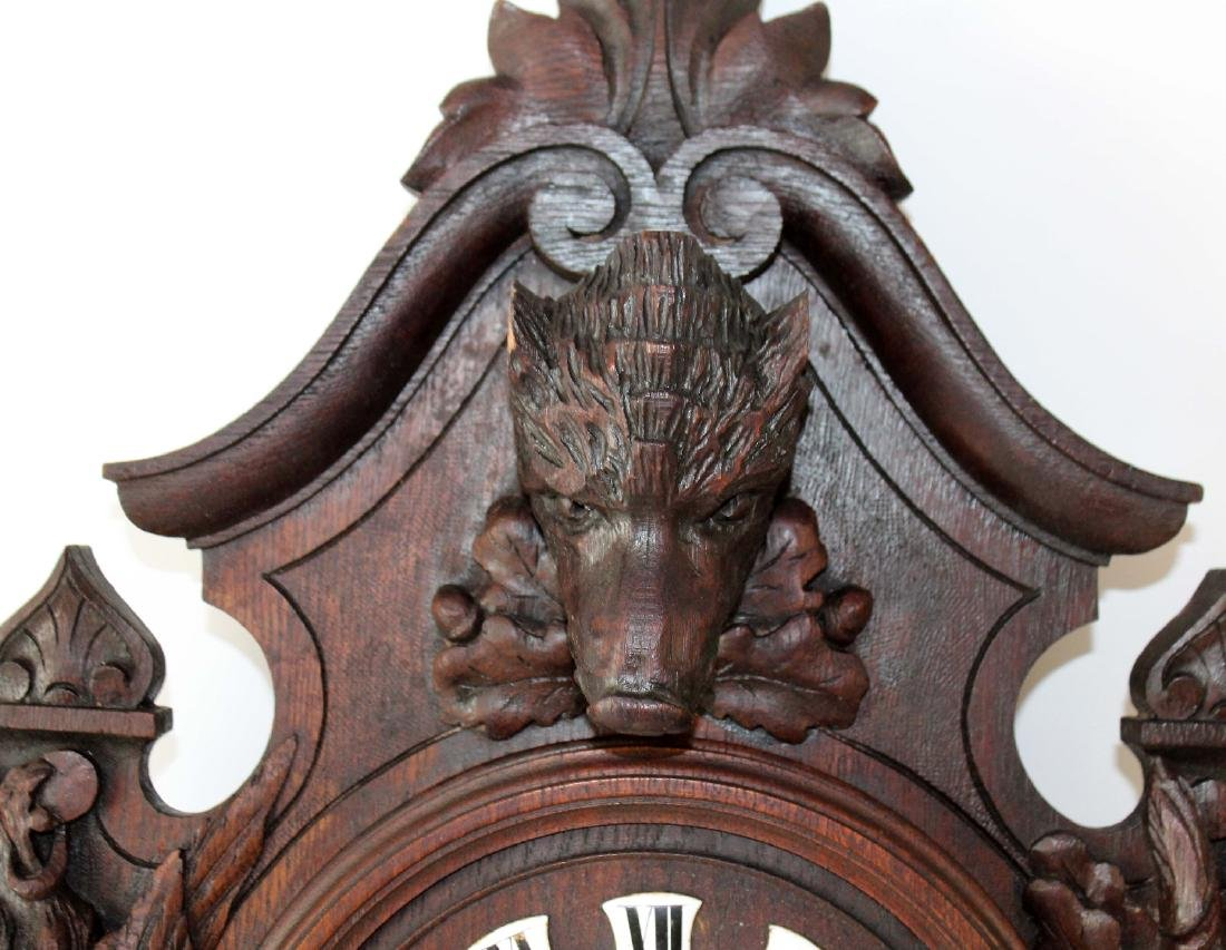 French heavily carved wall clock - 4