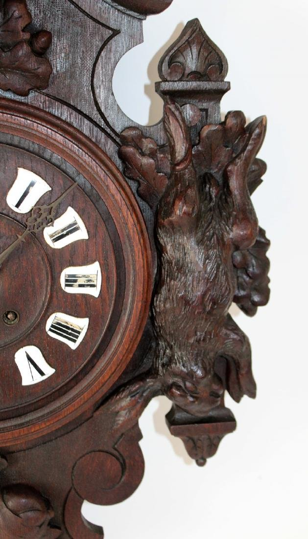 French heavily carved wall clock - 5