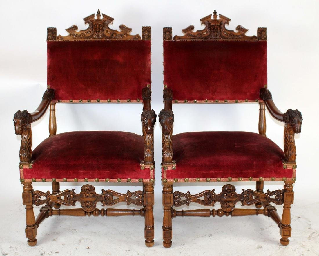 Pair of French Louis XVI upholstered armchairs