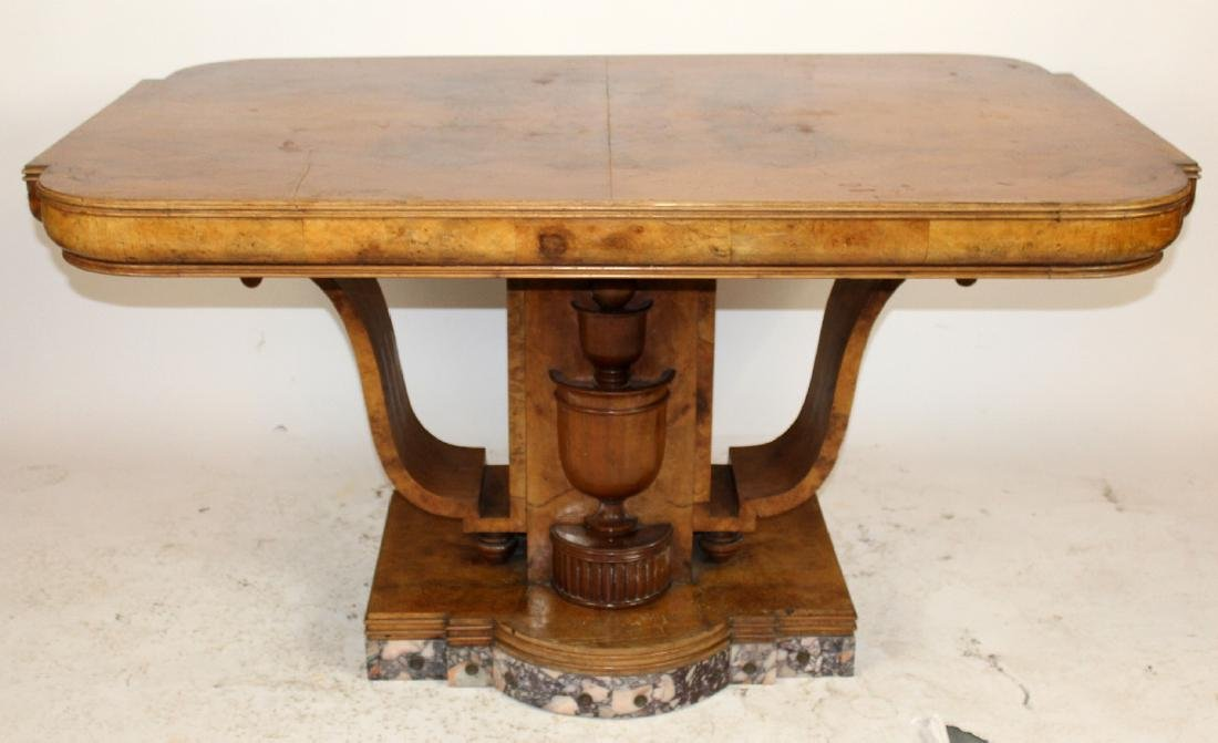 Period Art Deco dining table in burl walnut