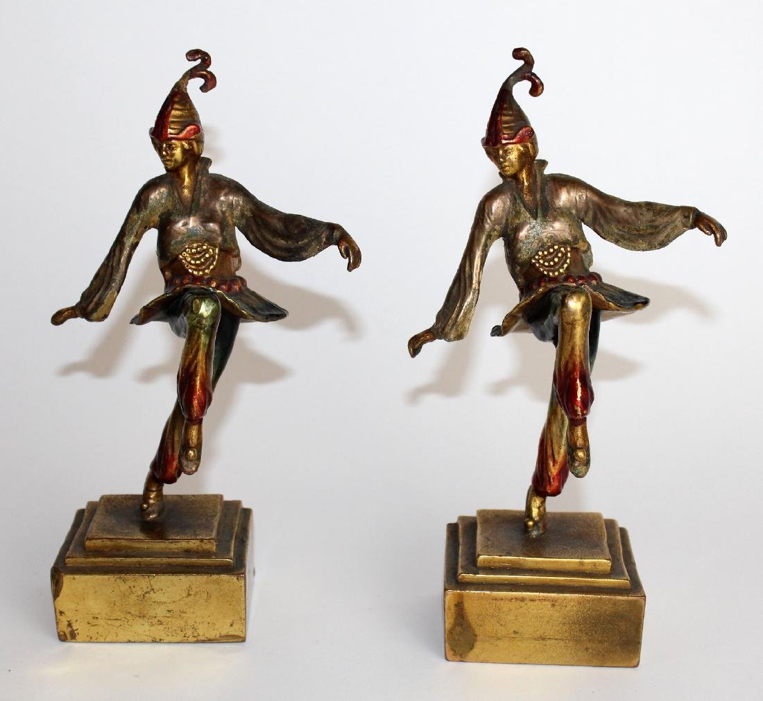 Pair of Art Deco polychrome jester bookends