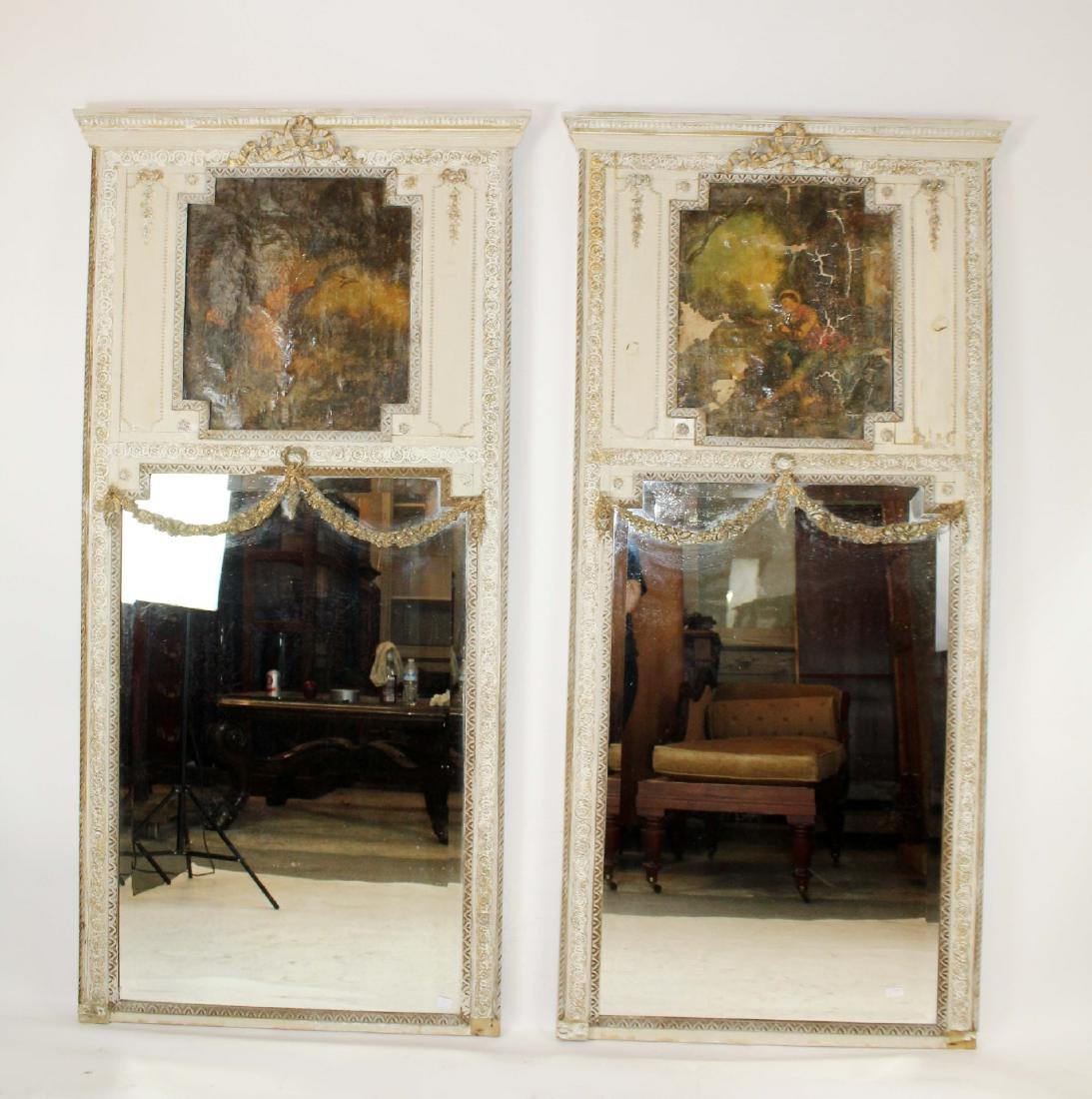 Pair of painted Louis XVI style trumeau mirrors