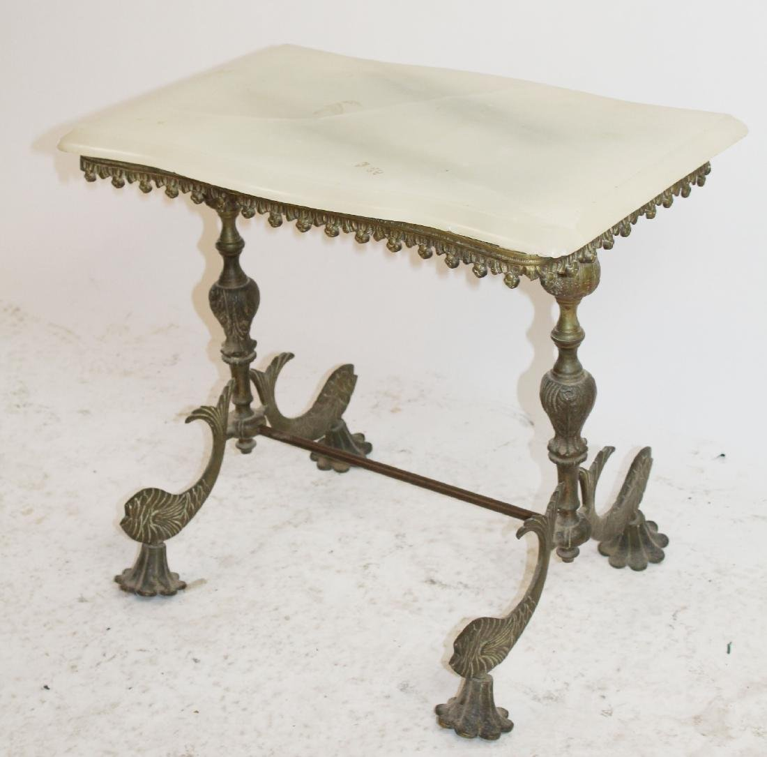 American brass onyx top table with fish - 2