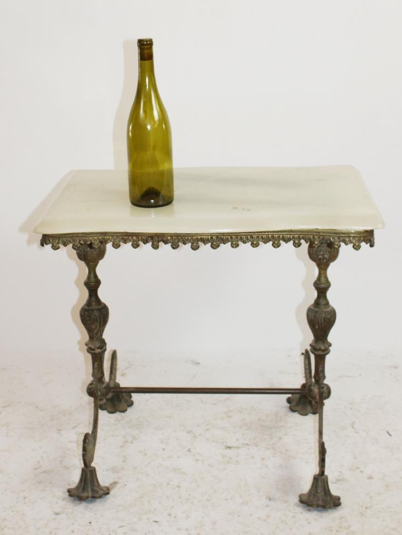 American brass onyx top table with fish - 3
