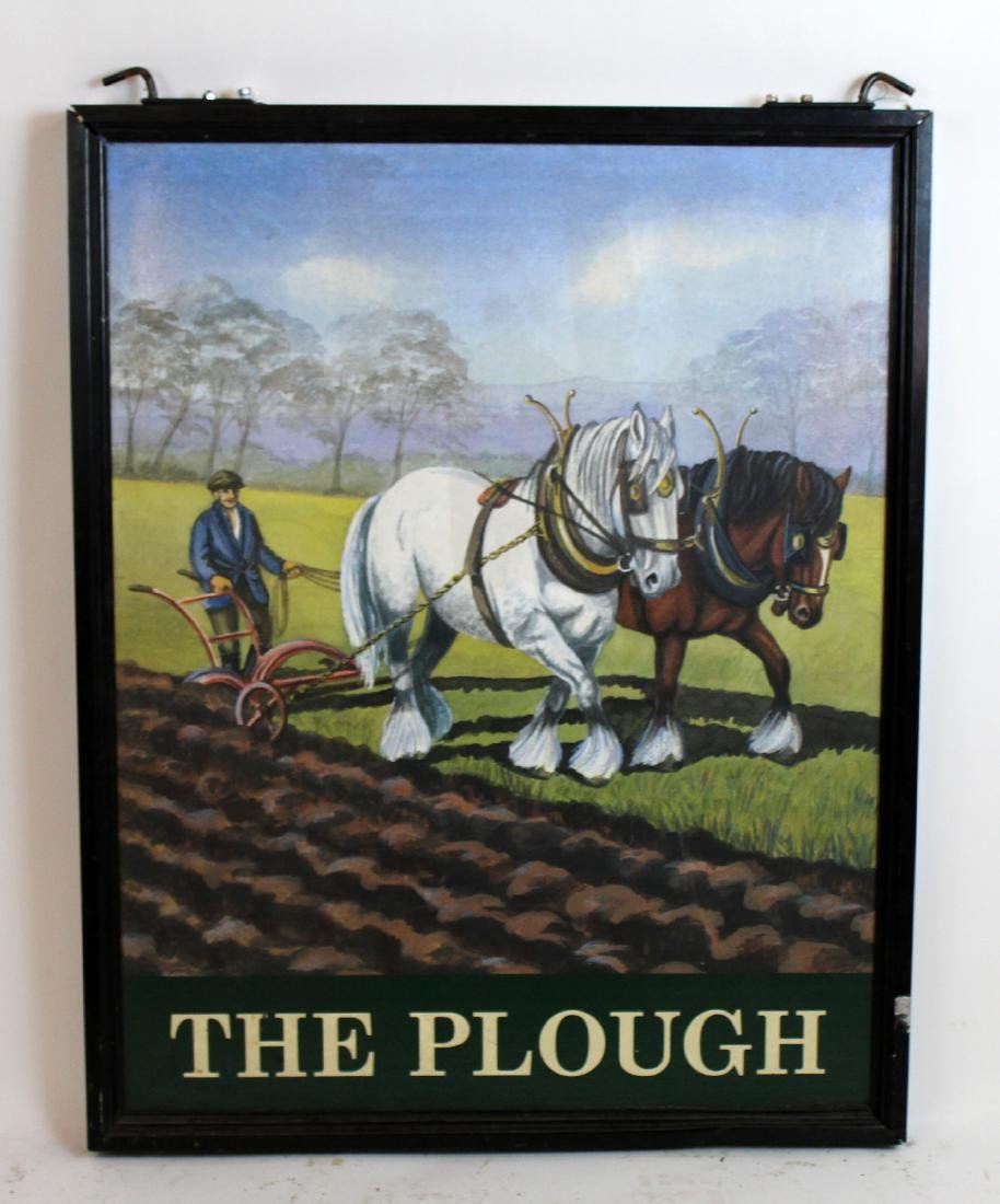"""The Plough"" English double sided pub sign"